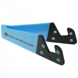 Soporte para teléfono móvil y tablet. Peana azul cielo plegable y portátil