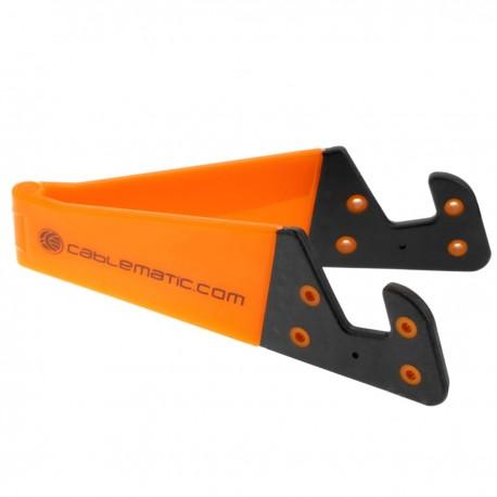 Soporte para teléfono móvil y tablet. Peana naranja plegable y portátil