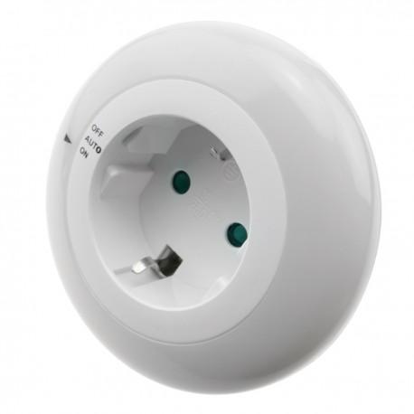 Luz LED nocturna con sensor de luz y toma de corriente tipo enchufe 230VAC