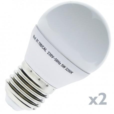 Bombilla LED G45 E27 230VAC 5W luz cálida 2 pack