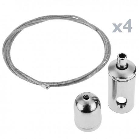 Kit de montaje de cables de acero para panel LED colgante - 4 cables