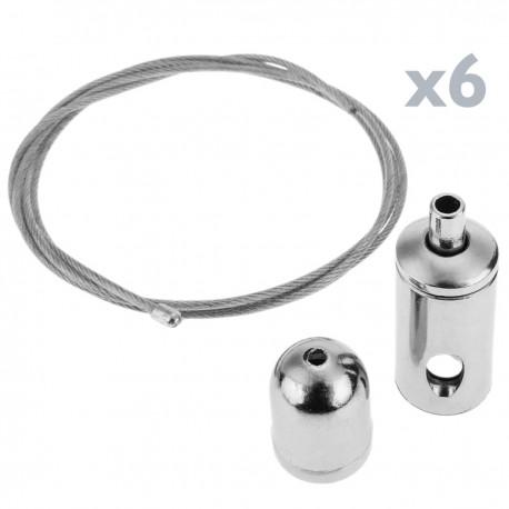 Kit de montaje de cables de acero para panel LED colgante - 6 cables