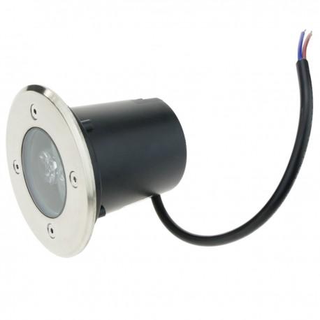 Foco LED de suelo de 3W 80mm. Luz blanco cálido de 3000K