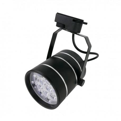 Foco LED de rail 12W blanco frío día 100x170mm negro