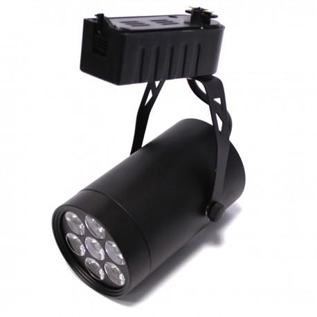 Foco LED de rail 7W blanco frío día 80x110mm negro
