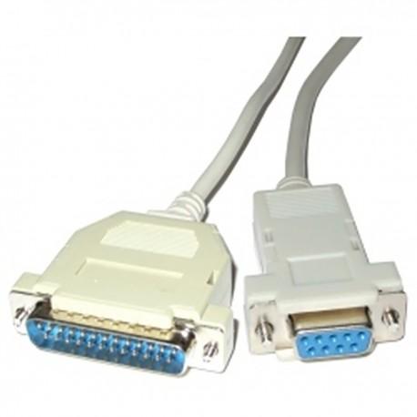 Cable serie compatible con TPV Epson DB25 macho a DB9 hembra de 5m