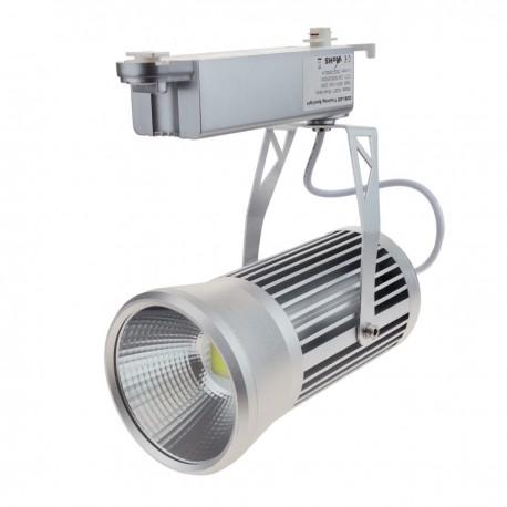 Foco plateado de rail LED COB 30W 6000K 115x198mm luz día