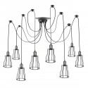 Lámpara con jaulas largas para 8 bombillas de rosca E27 vintage con cable de 3m