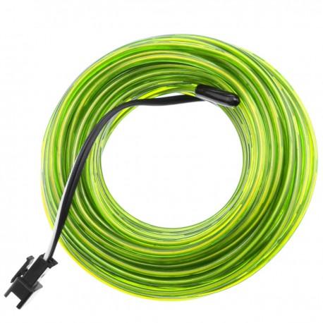Cable electroluminiscente amarillo de 2.3mm en bobina 5m con pilas