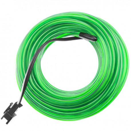 Cable electroluminiscente verde suave de 2.3mm en bobina 5m con pilas