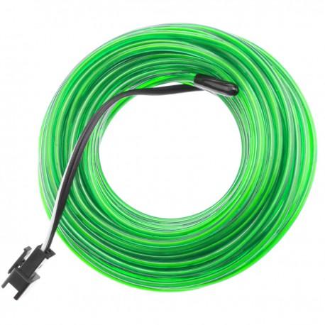 Cable electroluminiscente verde suave de 2.3mm en bobina 10m conectada a 220VAC