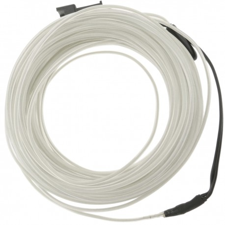 Cable electroluminiscente transparente-blanco de 5mm en bobina 10m de cable conectada a 220VAC