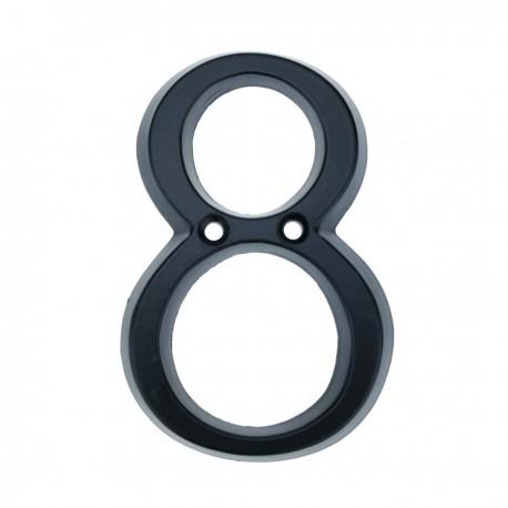 Número 8 en metal negro de 95mm con tornillería para rotulación