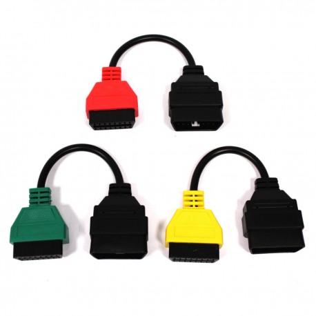 Cable adaptador de conector OBD II a Fiat Alfa-Romeo para FiatECUscan kit 3 cables