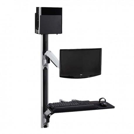 Soporte de pantalla teclado ratón ordenador de pared con brazo articulado doble