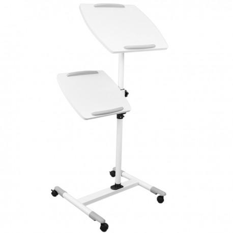 Carrito para proyector y ordenador portátil. Soporte blanco para notebook con ruedas
