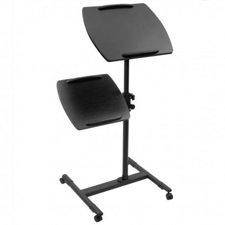 Carrito para proyector y ordenador portátil. Soporte negro para notebook con ruedas