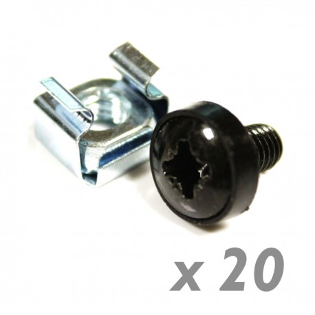 Tornillos M6 para rack-19 20-pack de color negro