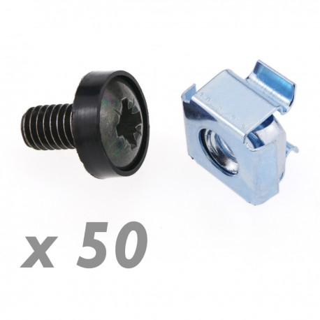 Tornillos M6 para rack-19 50-pack de color negro