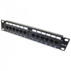 """Patch panel 10"""" para armario rack 12-Port RJ45 Cat.5e UTP 1U"""