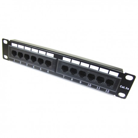 "Patch panel 10"" para armario rack 12-Port RJ45 Cat.5e UTP 1U"