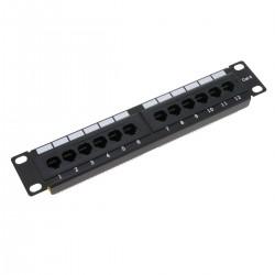 """Patch panel 10"""" para armario rack 12-Port RJ45 Cat.6 UTP 1U"""