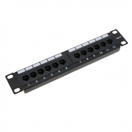 "Patch panel 10"" para armario rack 12-Port RJ45 Cat.6 UTP 1U"