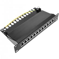"""Patch panel 10"""" para armario rack 12 puertos RJ45 Cat.6A FTP 1U"""