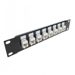 """Patch panel 10"""" para armario rack 8-port RJ45 Cat.5e UTP 1U Keystone"""