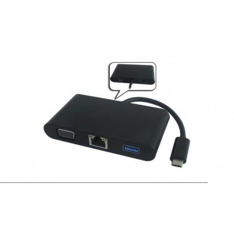 Cable adaptador USB 3.1 Macho a RJ45, VGA y USB 3.0 Hembra 10cm negro