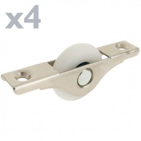 Rueda de nailon 25 mm para puertas y muebles 4 pack