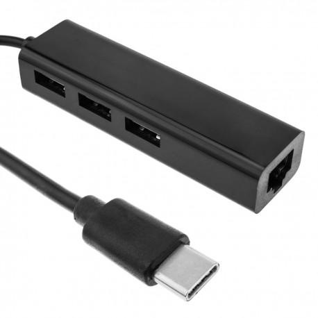 Adaptador USB 2.0 tipo C a red ethernet 10/100 RJ45 con hub 3 puertos USB tipo A