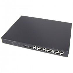 PoE-Switch 10/100/1000 Mbps IEEE802.3af RACK19 (24 PoE y 4 SFP)