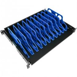 """Estantería extraible para armario rack 19"""" con 10 divisiones para ordenador portátil o tablet 350 mm"""