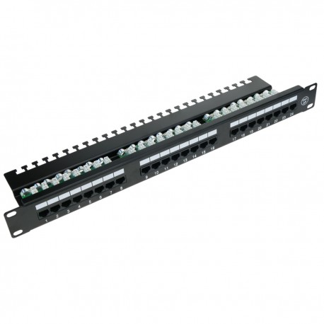 Patch panel de 24 RJ45 Cat.5e UTP 1U negro con organizador de cables para armario rack - RackMatic