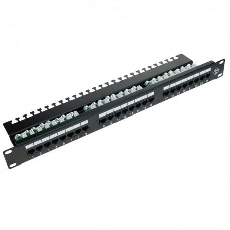 Patch panel de 24 RJ45 Cat.5e UTP 1U negro con organizador de cables para armario rack - RackMatic