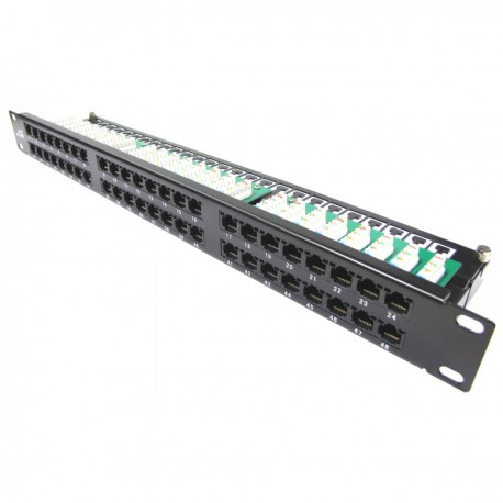 Patch panel de 48 RJ45 Cat.5e UTP 1U negro