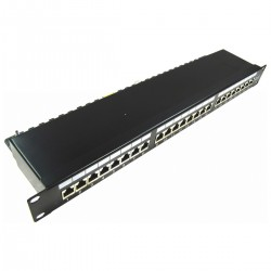 Patch panel rack 24 RJ45 Cat.6 FTP 1U negro