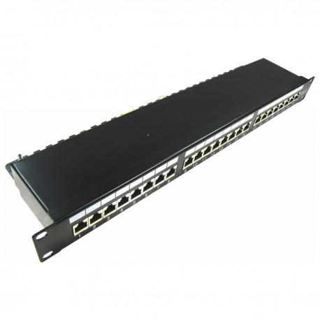 Patch panel rack 24 RJ45 Cat.6 FTP 1U negro