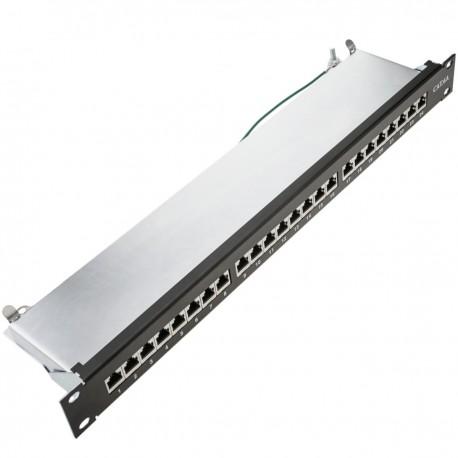 Patch panel rack 24 RJ45 Cat.6A FTP 1U negro con peine para gestión de cables