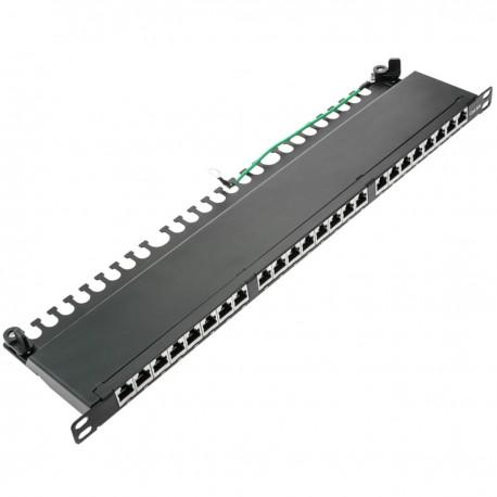 Patch panel rack 24 RJ45 Cat.6A FTP 0.5U negro con peine para gestión de cables