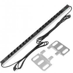 """Regleta de enchufes rack 19"""" de 18 schuko con interruptor y protección sobretensiones"""