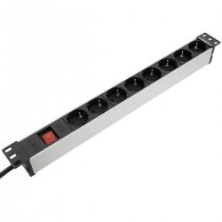 """Regleta de enchufes para armario rack 19"""" 1U con 8 schuko aluminio interruptor"""