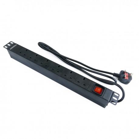 """Regleta de enchufes para armario rack 19"""" 1U con 6 UK BS-1363 aluminio interruptor"""