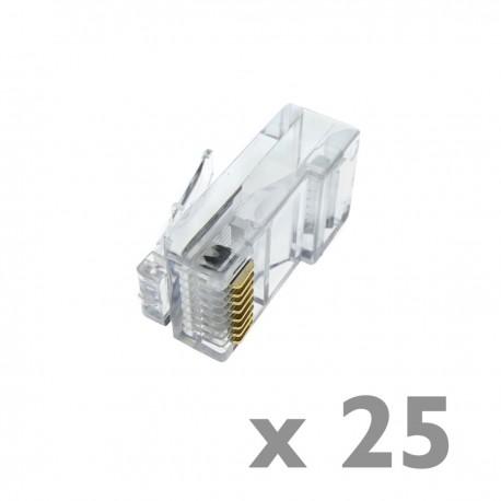Conector UTP Cat.5e RJ45 macho para crimpar a cable 25-pack