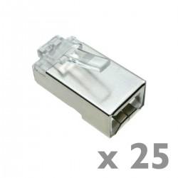Conector FTP Cat.5e RJ45 macho para crimpar a cable 25-pack