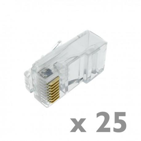 Conector UTP Cat.6 RJ45 macho para crimpar a cable 25-pack