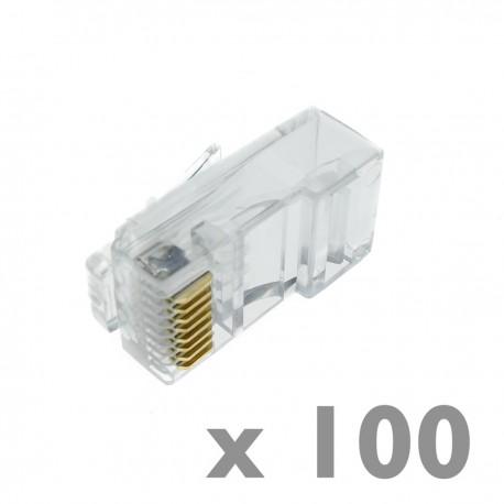 Conector UTP Cat.6 RJ45 macho para crimpar a cable 100-pack