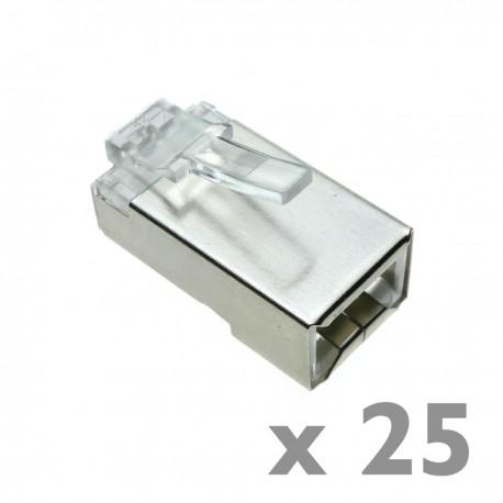 Conector FTP Cat.6 RJ45 macho para crimpar a cable 25-pack