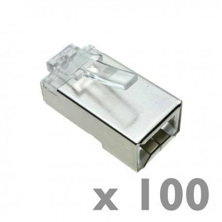 Conector FTP Cat.6 RJ45 macho para crimpar a cable 100-pack